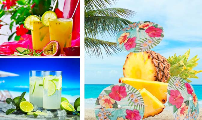 Hawaii versieringen drankjes